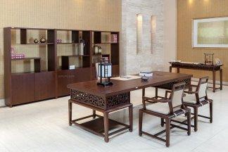 高端银行学校公司办公家具品牌现代新中式实木办公大班台班椅组合
