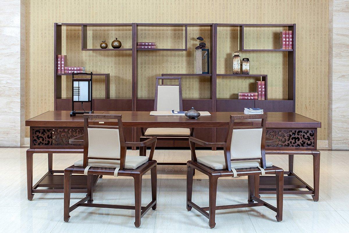 高端銀行學校公司辦公家具品牌現代新中式實木辦公大班臺班椅組合
