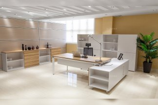 高端别墅办公家具品牌厂家现代白色实木大班台班椅组合