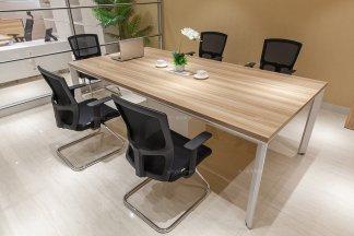 高端办公家具品牌银行学校公司现代原木色实木办公会议桌