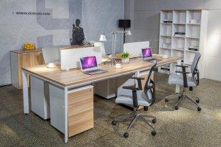 银行公司高端办公万博手机网页品牌现代原木色实木四人办公桌椅组合系列