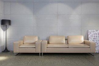 高端办公家具品牌厂家现代时尚米黄色真皮二人位沙发