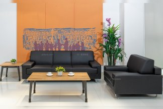 银行学校公司办公家具品牌现代轻奢黑色真皮办公沙发组合系列