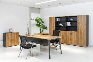 高档轻奢办公家具品牌现代时尚原木色办公大班台班椅书柜组合