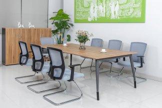 银行学校公司高端办公万博手机网页品牌现代原木色八人位会议桌