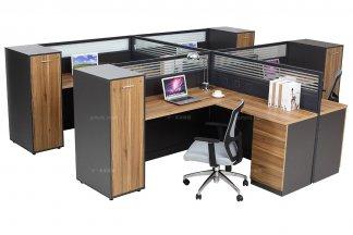 高端办公万博手机网页品牌公司现代轻奢原木色办公卡座4人位办公桌椅组合系列