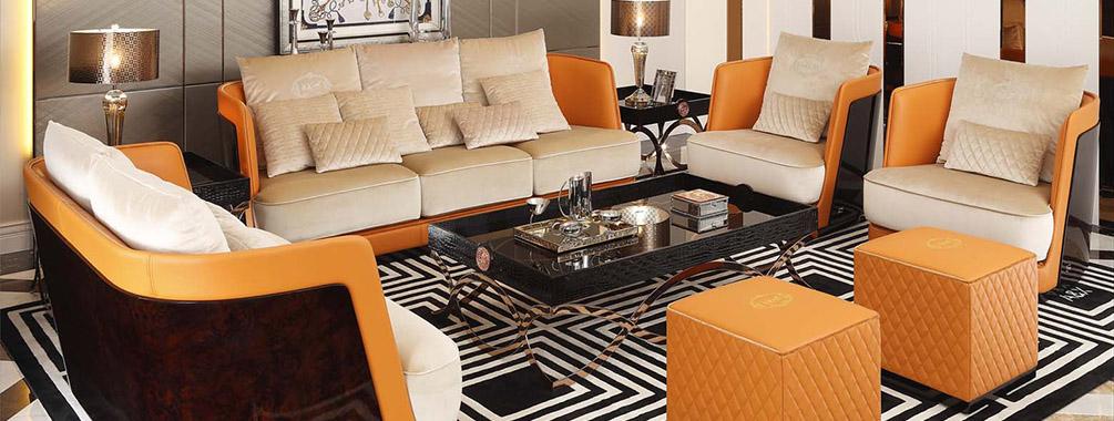 高端后现代轻奢客厅万博手机网页橙色皮桃木纹饰板真皮沙发组合