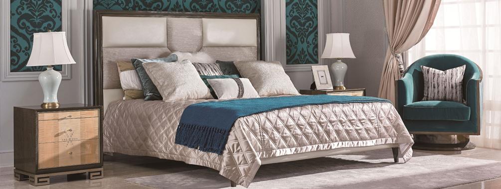 高端当代轻奢床实木寝室大床枫影木皮拼花真皮床寝室系列