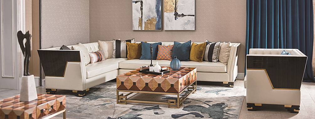 高端别墅轻奢转角沙发实木客堂真皮软包转角沙发组合