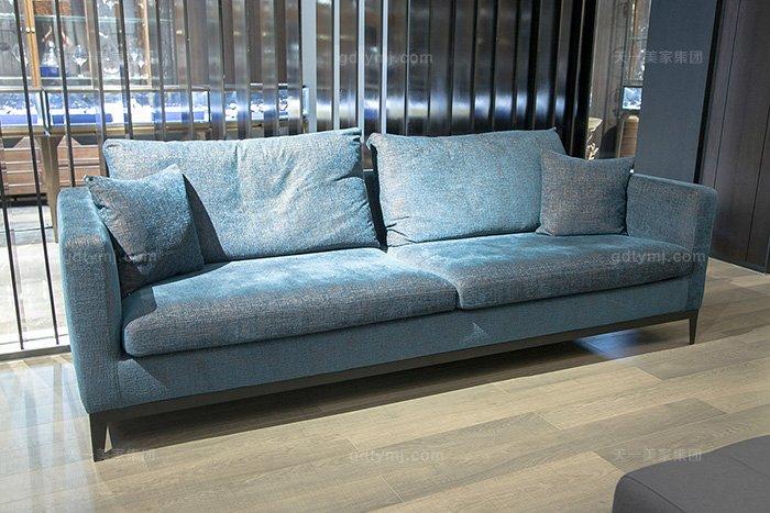意大利简奢风现代简约万博手机网页客厅三人位布艺沙发