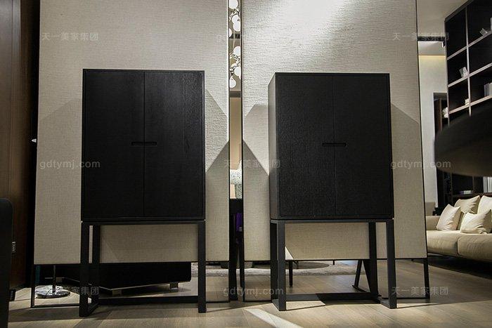 意大利极简奢风格现代简约万博手机网页实木黑橡色高脚柜