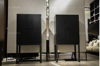 意大利极简奢风格现代简约家具实木黑橡色高脚柜
