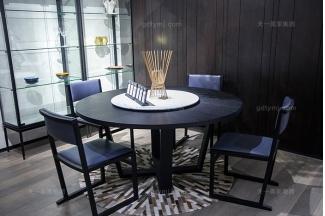 意大利极简风现代轻奢万博手机网页餐厅高档实木餐桌椅组合