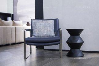 意式极简元素现代简奢家具蓝色真皮休闲单椅