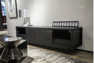 意大利现代极简约风格万博手机网页客厅高端黑橡色实木电视柜
