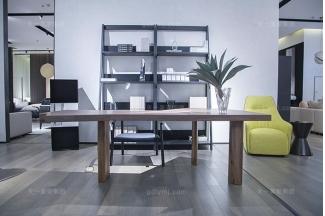 意大利现代极简风格万博手机网页书房高端原木实木书桌椅组合