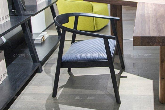 意大利现代极简风格万博手机网页书房高端原木实木书桌椅组合书椅