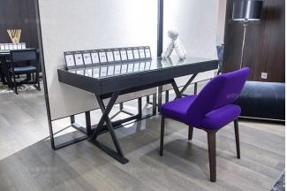 意大利轻奢极简万博手机网页高端实木烟熏黑橡色书桌椅