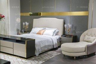 高端轻奢后现代万博手机网页风格卧室优质布艺软包床组合