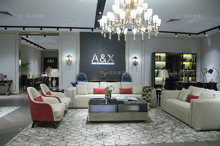 高端奢华别墅万博手机网页品牌轻奢后现代风真皮客厅沙发组合