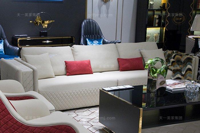 高端奢华别墅万博手机网页品牌轻奢后现代风真皮客厅沙发组合四人位沙发