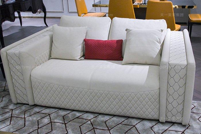 高端奢华别墅万博手机网页品牌轻奢后现代风真皮客厅沙发组合二人位沙发