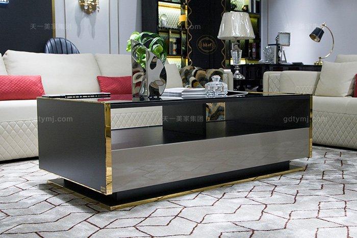 高端奢华别墅家具品牌轻奢后现代风真皮客厅沙发组合茶几