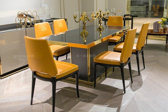 高端奢华豪宅万博手机网页轻奢后现代餐厅万博手机网页时尚金属餐桌椅组合