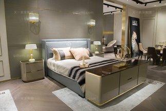 高端别墅家具品位轻奢家具卧室真皮蓝色双人床组合