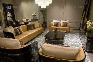 高端奢华别墅家具品牌后现代轻奢家具客厅橙色真皮沙发组合