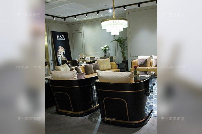 高端奢华别墅万博手机网页品牌后现代轻奢万博手机网页客厅橙色真皮沙发组合单位沙发