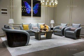 高端别墅家具品牌轻奢后现代客厅蓝色真皮实发组合
