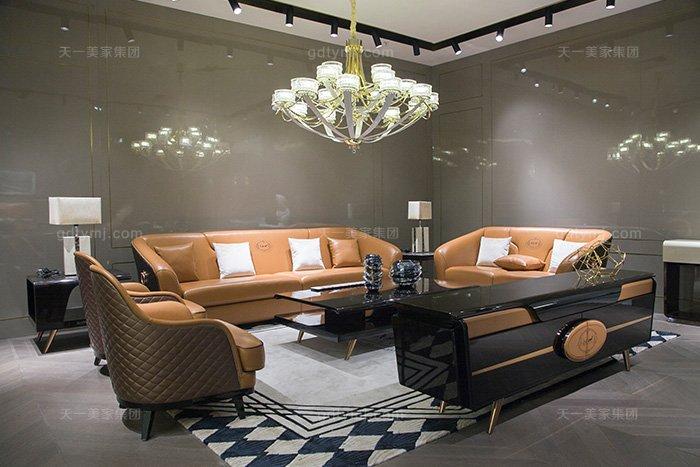 奢华88bf必发娱乐家具品牌轻奢后现代风客厅爱马仕橙真皮沙发组合