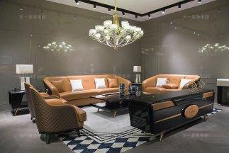 奢华别墅家具品牌轻奢后现代风客厅爱马仕橙真皮沙发组合