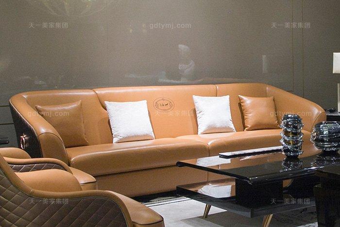 奢华88bf必发娱乐家具品牌轻奢后现代风客厅爱马仕橙真皮沙发组合四人位沙发