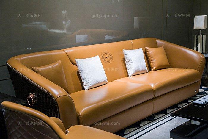 奢华88bf必发娱乐家具品牌轻奢后现代风客厅爱马仕橙真皮沙发组合二人位沙发