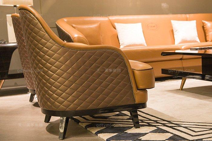 奢华88bf必发娱乐家具品牌轻奢后现代风客厅爱马仕橙真皮沙发组合休闲椅