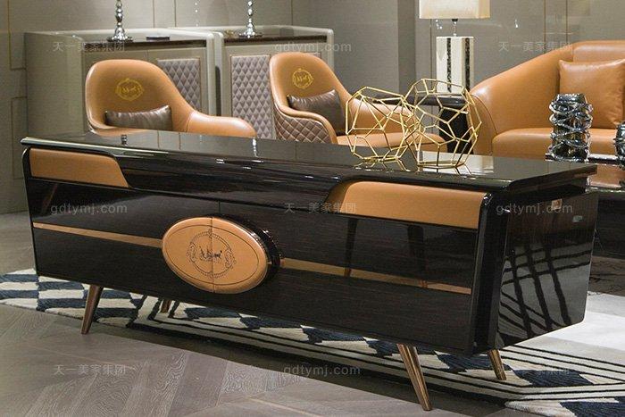 奢华88bf必发娱乐家具品牌轻奢后现代风客厅爱马仕橙真皮沙发组合电视柜
