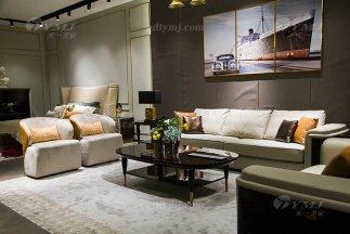 轻奢后现代88bf必发娱乐家具品牌厂家客厅米色真皮沙发组合