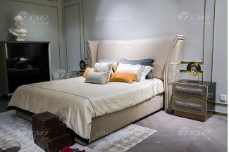 轻奢后现代万博手机网页别墅万博手机网页品牌卧室米色真皮软包双人大床