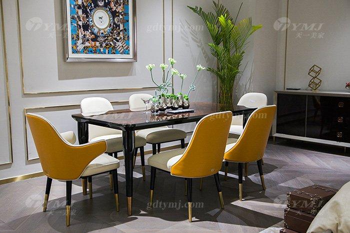 轻奢别墅家具后现代风餐厅爱马仕橙真皮餐桌椅组合