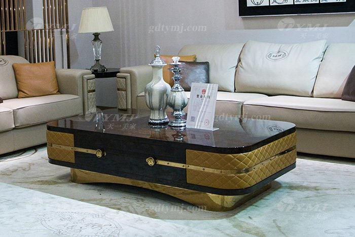 别墅家具品牌后现代轻奢家具客堂米色真镶玫瑰五金沙发组合茶几