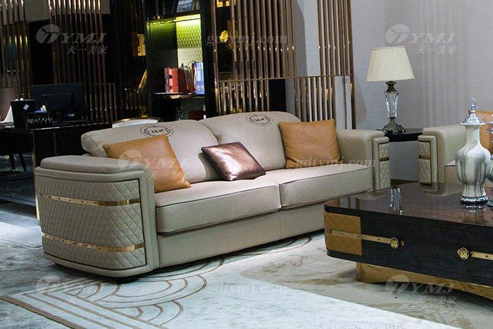 别墅家具品牌后现代轻奢家具客堂米色真镶玫瑰五金沙发组合二人位沙发