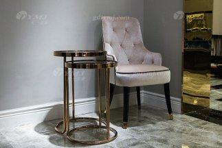 高端大气别墅家具品牌轻奢后现代优质绒布艺拉扣休闲椅