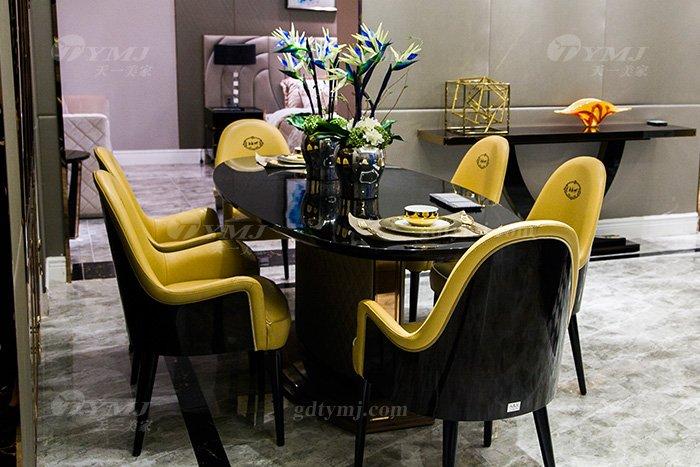 高端别墅轻奢后现代万博手机网页品牌餐厅实木真皮餐桌椅组合