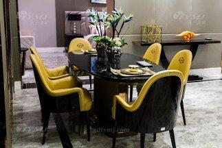 高端88bf必发娱乐轻奢后现代家具品牌餐厅实木真皮餐桌椅组合