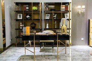 高端别墅家具品牌轻奢后现代书房家具时尚书桌椅组合