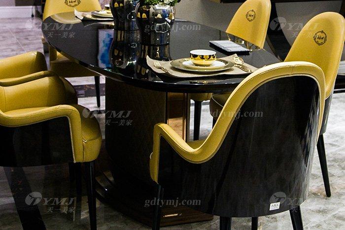 高端别墅轻奢后现代万博手机网页品牌餐厅实木真皮餐桌椅组合餐桌