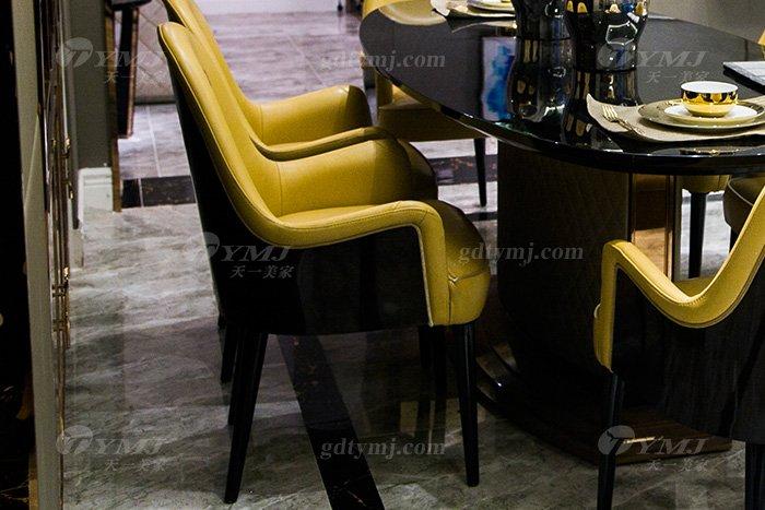 高端别墅轻奢后现代家具品牌餐厅实木真皮餐桌椅组合