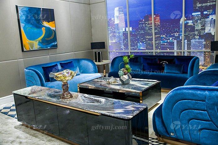 高端奢华万博手机网页品牌别墅轻奢后现代万博手机网页客厅蓝色优质绒布艺沙发组合